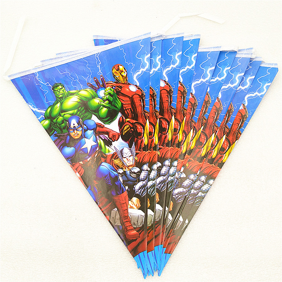 1 Set Cartoon Avengers Flags Banner Theme Party Home Decorations For Kids Happy Birthday Baby Shower Superhero Party Supplies