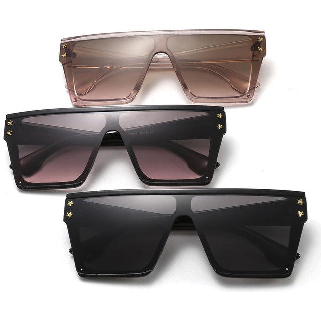 HUHAITANG Oversized Square Flat Sunglasses Women Vintage Luxury Brand Designer Sun Glasses Men Retro Classic Woman For Sunglass 5