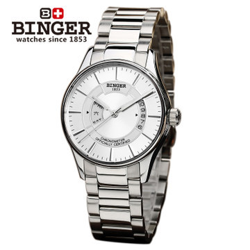Geneva binger new large dial movement White gold Automatic mechanical men watch outdoor watches hollow belt