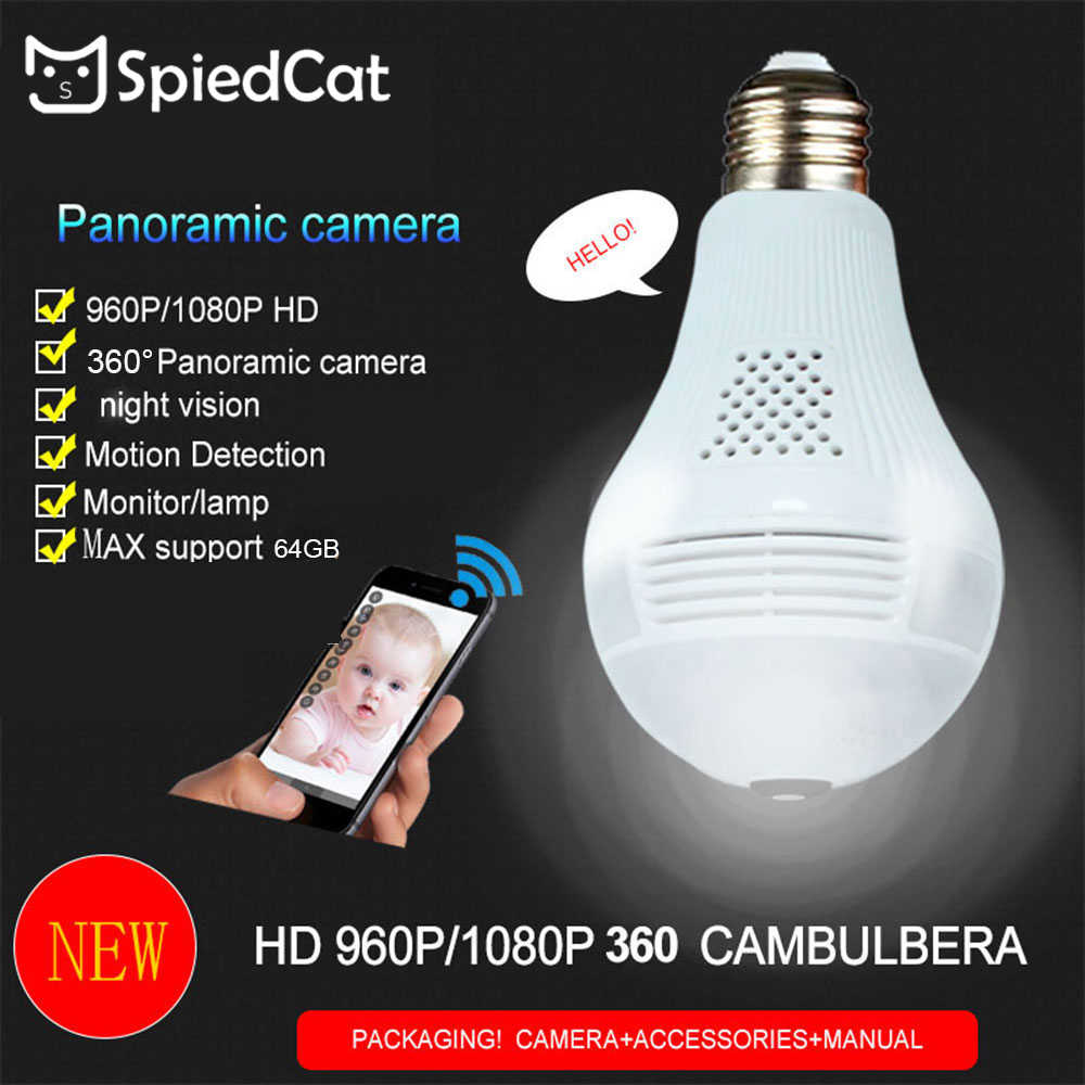 Bulb Lamp Wireless IP Wifi 960P HD Panoramic Fish Eye Home Security CCTV Camera 360 Degree Night Vision Camera Support TF Card