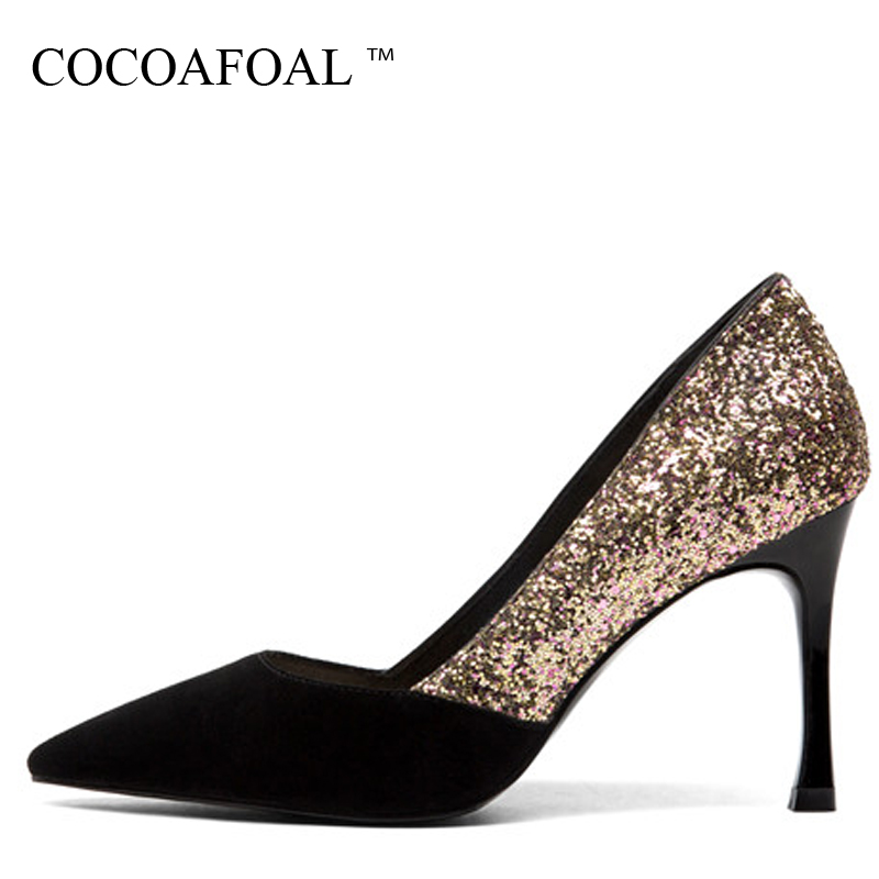 COCOAFOAL Woman Golden Wedding Pumps Bling Black Sexy High Heels Shoes Spring Autumn Shallow Fashion Party Pointed Toe Pumps spring autumn shoes woman pointed toe metal buckle shallow 11 plus size thick heels shoes sexy career super high heel shoes