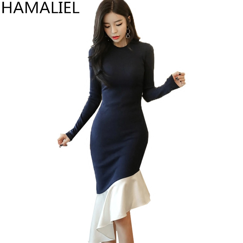 HAMALIEL Women Sheath Knitting Sweater Long Dress 2018 Spring Women Blue Patchwork Ruffles Knitted Bodycon Mermaid Party Dress