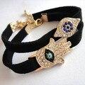 Wholesales 2015 Rhinestone Fatima Handmade Cute Turkish Suede Leather Evil Eye Bracelet Charm Fashion Alloy Ladies Jewelry