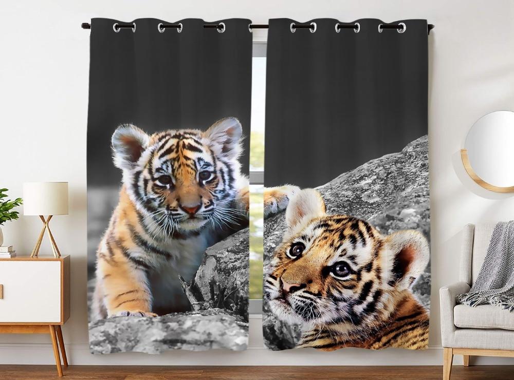 HommomH Curtains (2 Panel) Grommet Top Darkening Blackout Room Cute Tiger Baby