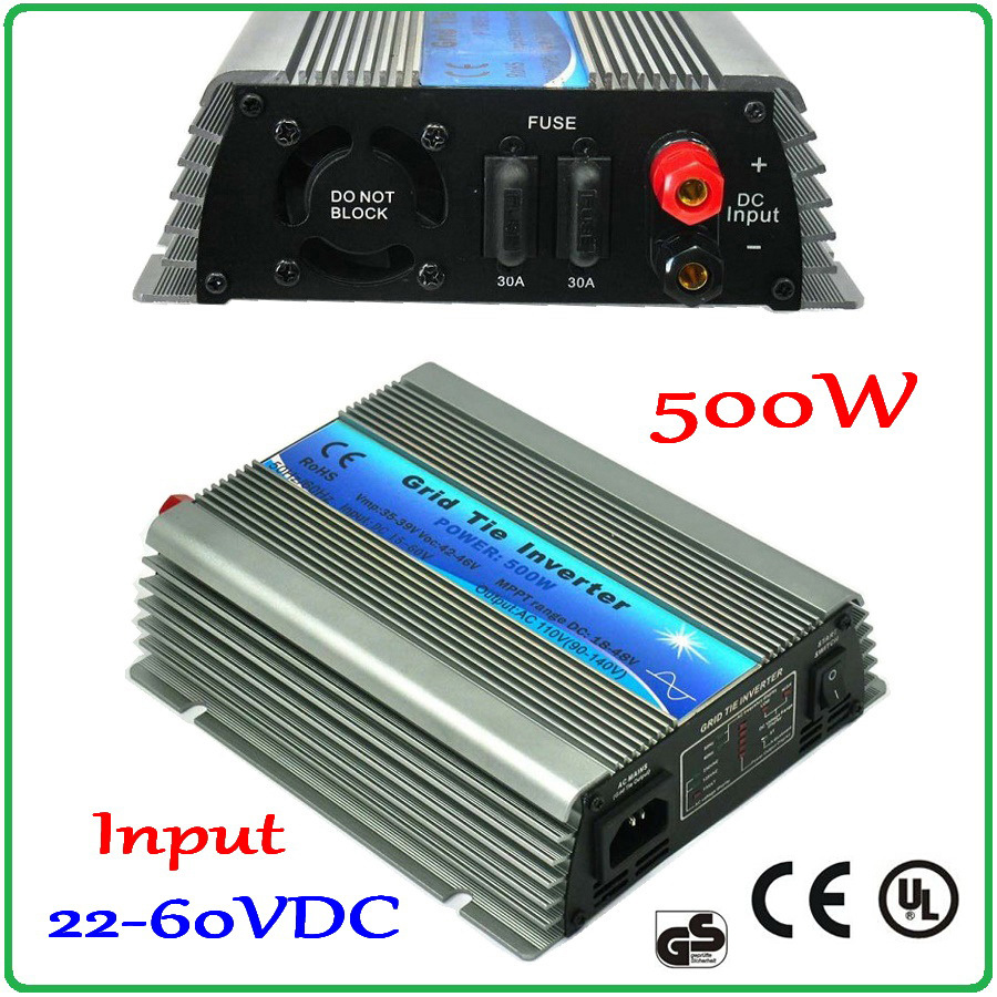 500W 30V/36V Grid Tie Inverter MPPT function Pure Sine Wave 190-260VAC or 90-140VAC output 60 72 CELLS input on grid inverter 500w micro grid tie inverter for solar home system mppt function grid tie power inverter 500w 22 60v