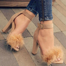 Ankle Strap High Heels Faux Fluffy Rabbit Fur Women Sandals 2019 High Heel Summer Lady Shoes Pumps Zapatos Mujer