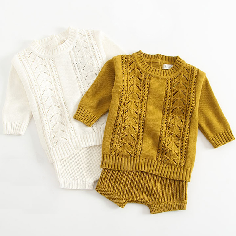 New 2019 Autumn 1 3Yrs Baby Girls Clothing Set Knitted Boys Set Pullover Sweaters Shorts 2 Pcs Kids Clothes Set Baby Girls Suits