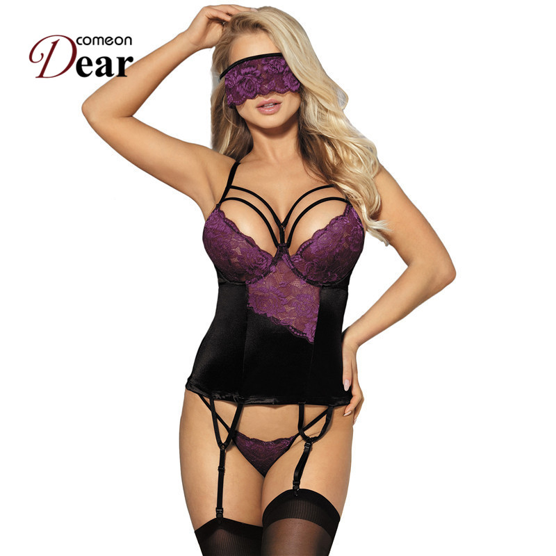 Comeondear Lace <font><b>Sexy</b></font> Costume <font><b>Sexy</b></font> Dress <font><b>Transparentes</b></font> Mujer <font><b>Sexy</b></font> <font><b>Babydoll</b></font> With Eye Mask RB80419 Plus Size <font><b>Lingerie</b></font> <font><b>Sexy</b></font> Desous image