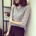 2016 de verano para mujer blusa de las señoras de Moda sexy con cuello en v blusas de Tres Cuartos de manga de la camisa femenina Delgada camisa Con Bolsillo