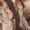2017 Sexy Rendas Sereia Vestido De Noite Com Decote Em V de Ouro Arábia Saudita apliques Vestido De Noche Formal Vestidos de Festa 2017 Sexy Prom vestidos