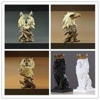 Imitation wood carving retro animal avatar model crafts, lion, tiger, eagle, horse, wolf, home souvenir, desk artwork, best for