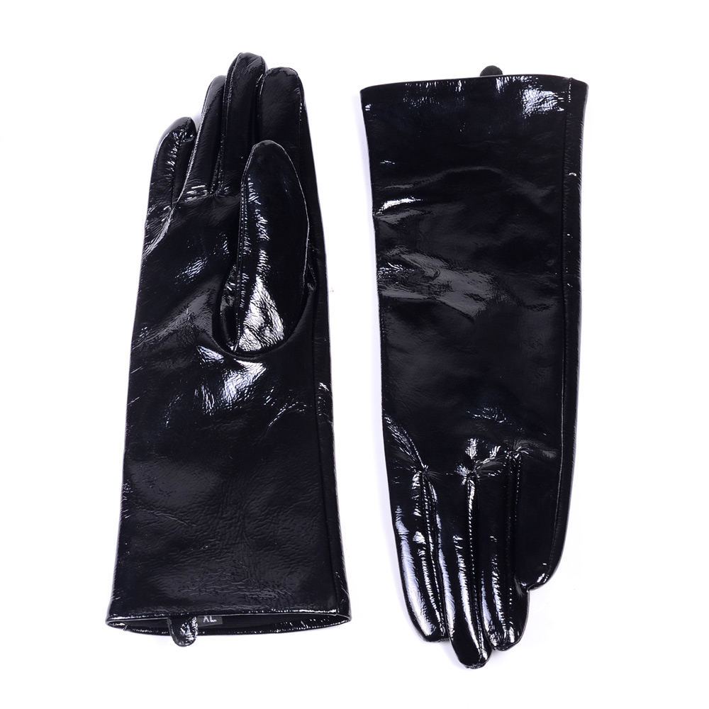 30cm New Men's Genuine Leather Shiny Black Patent Leather long Gloves Customizable Punk gloves