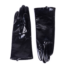 30cm New Mens Genuine Leather Shiny Black Patent long Gloves Customizable Punk gloves