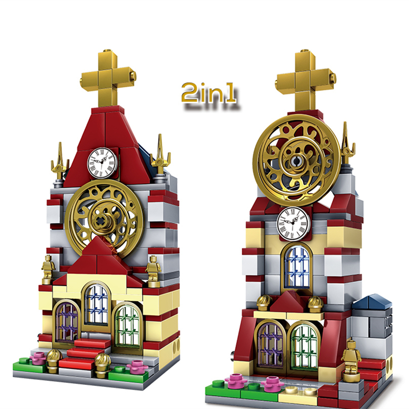 2017 KAZI City Mini Architecture Building Blocks Cathedral Church Construction Bricks Children Game Educational Toys
