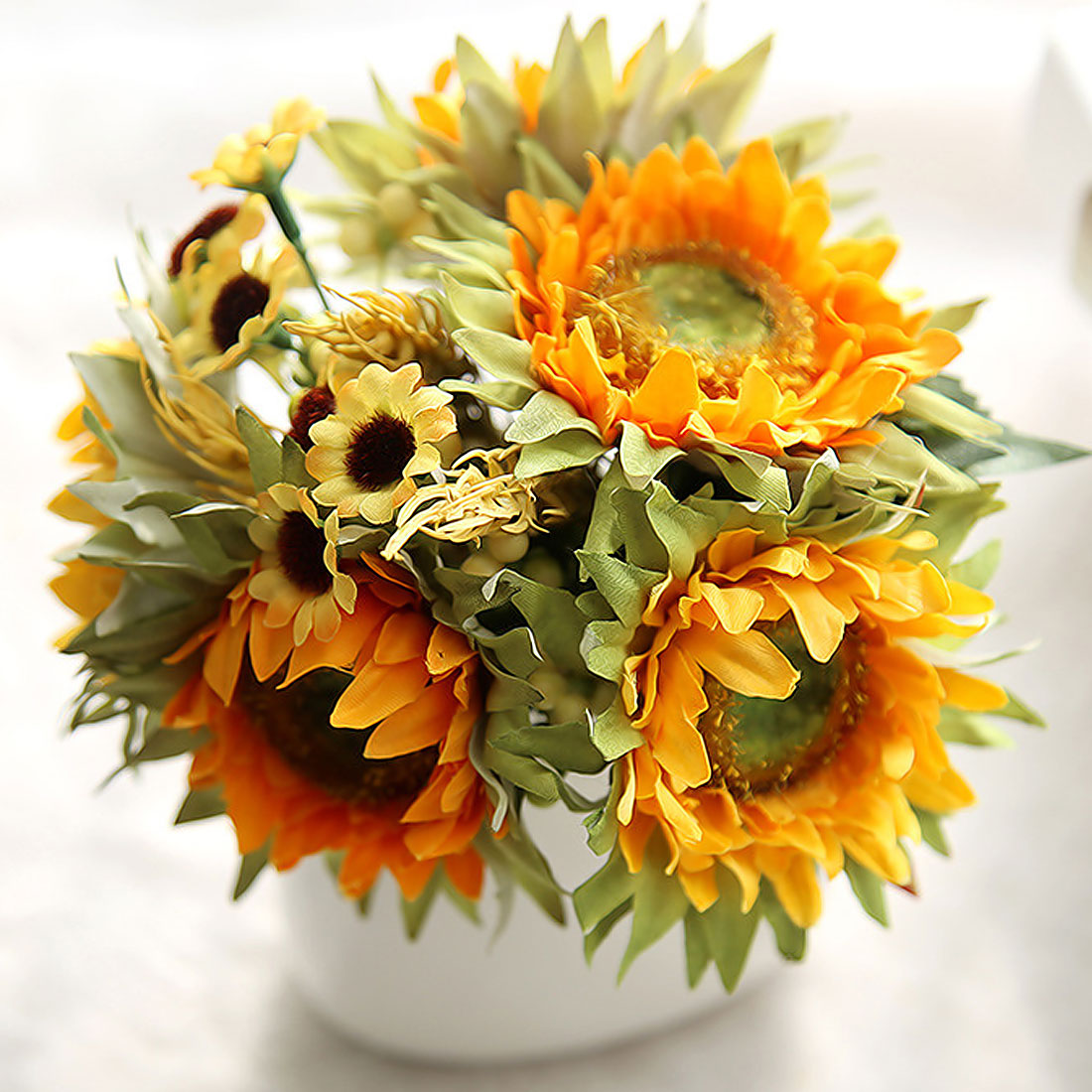 5heads Silk Sunflower 1 Bouquet Yellow Home Table Decoration