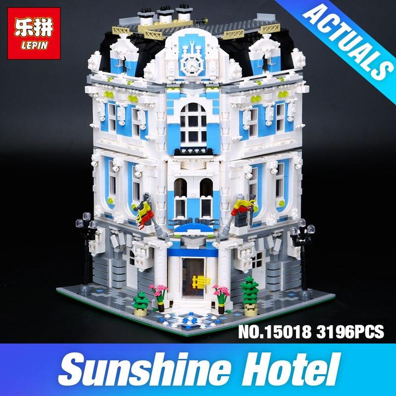 Lepin 15018 MOC Ville Série Le Soleil Hôtel Modèle Jeu de Construction Blocs Briques Jouets Éducatifs BRICOLAGE Enfants De Noël Cadeaux