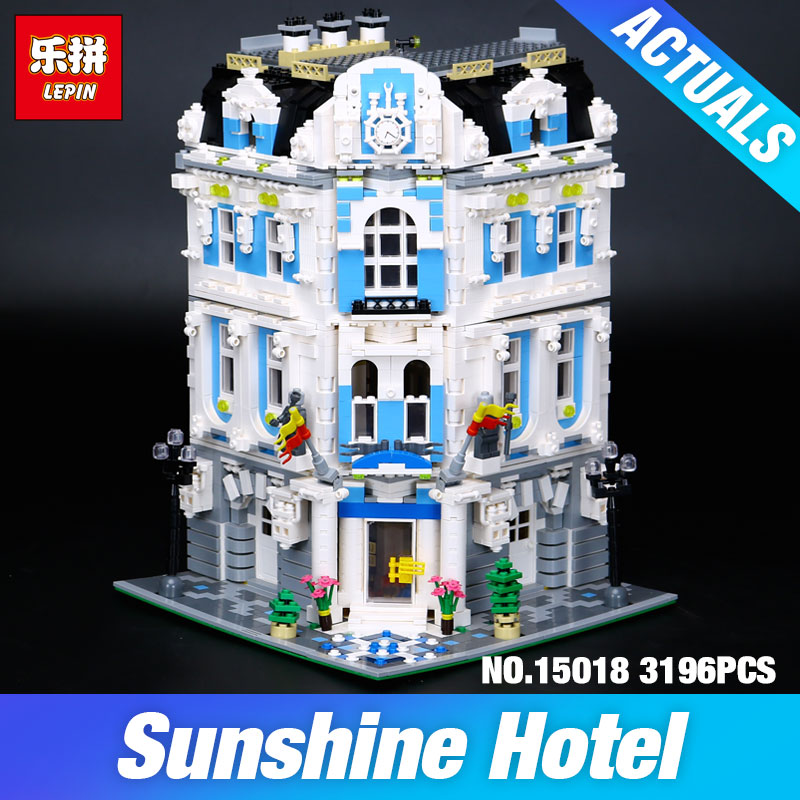 New 3196pcs Lepin 15018 MOC City Series The Sunshine Hotel Set Building Blocks Bricks Educational Toys DIY Children Day's Gift black pearl building blocks kaizi ky87010 pirates of the caribbean ship self locking bricks assembling toys 1184pcs set gift