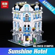 Nuevo 3196 unids Lepin 15018 MOC Serie de La Ciudad Del Sol Hotel Juego de Bloques de Construcción de Ladrillos Educativos Juguetes DIY Children Día de Regalo