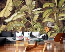 Купить с кэшбэком Beibehang European and American tropical plants banana leaves living room bedroom TV  wallpaper for walls 3 d papel de parede