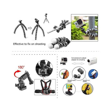 Andoer 49-in-1 Action Cam Mount Accessories Kit for GoPro SJ4000 Xiaomi Sport Action Camera Skiing Cycle Hiking Sport Accessorie