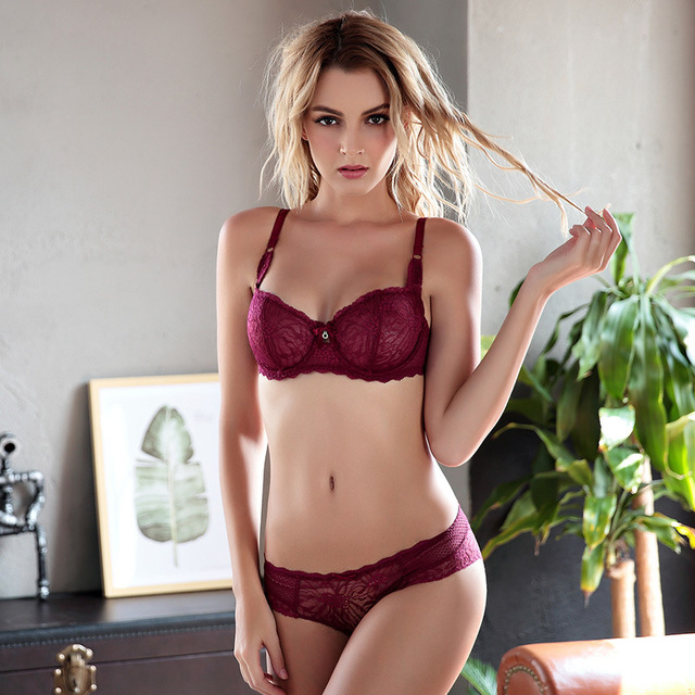 SusanDick New Breathable Sexy Lace Bra Set Underwear For Women 3/4 Cup Embroidery Cute Wine Red Bra & Panties Set Bralette Set