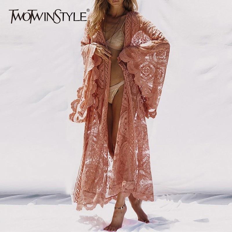 Deuxtwinstyle dentelle femmes chemise hauts à lacets Flare manches Maxi Blouse femme 2019 été mode vacances Style vêtements grande taille