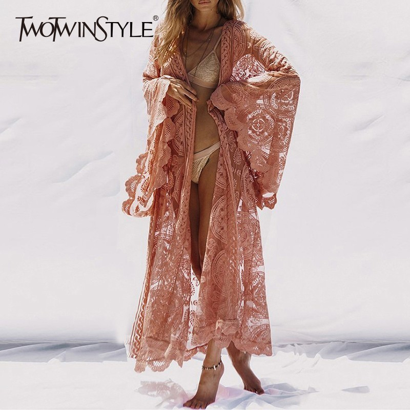 TWOTWINSTYLE Lace Women Shirt Tops Lace Up Flare Sleeve Maxi Blouse Female 2020 Summer Fashion Vacation Style Clothes Plus Size