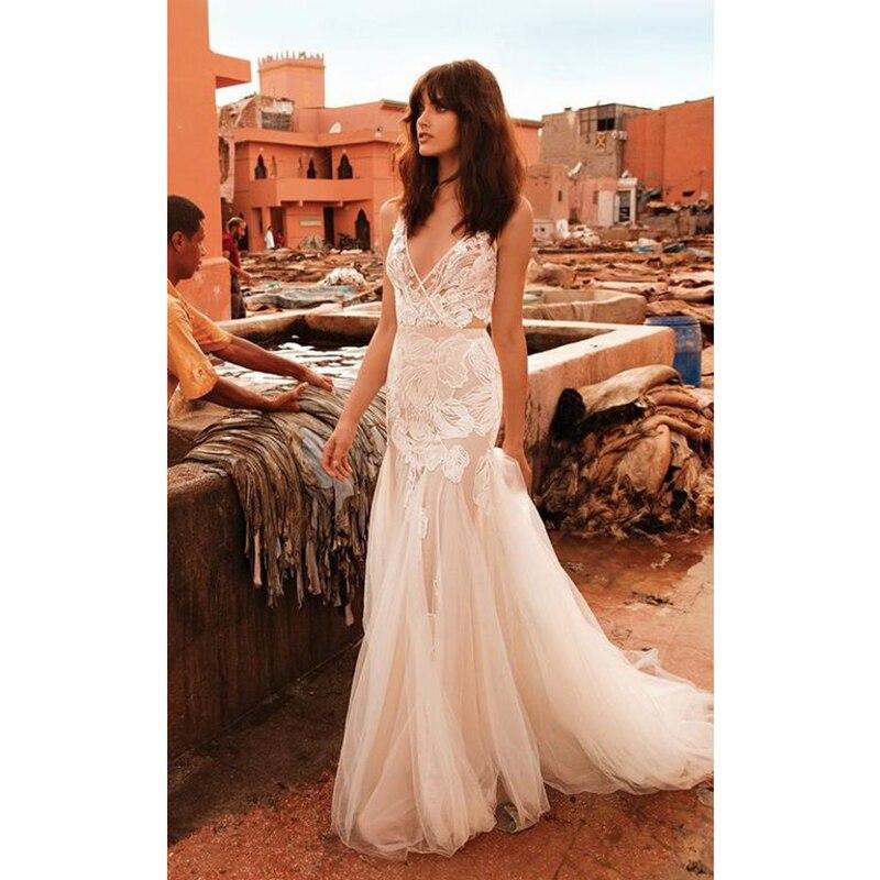 LORIE Mermaid Wedding Dress V Neck Appliqued Sexy Backless Lace Bride Dress Princess Boho Wedding Gown