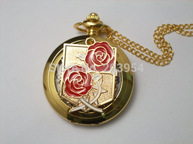 New Attack on Titan Pocket Watch 1pcs/lot quartz handmade golden case Japanese Cosplay Stationed Corps steampunk for xmas gift