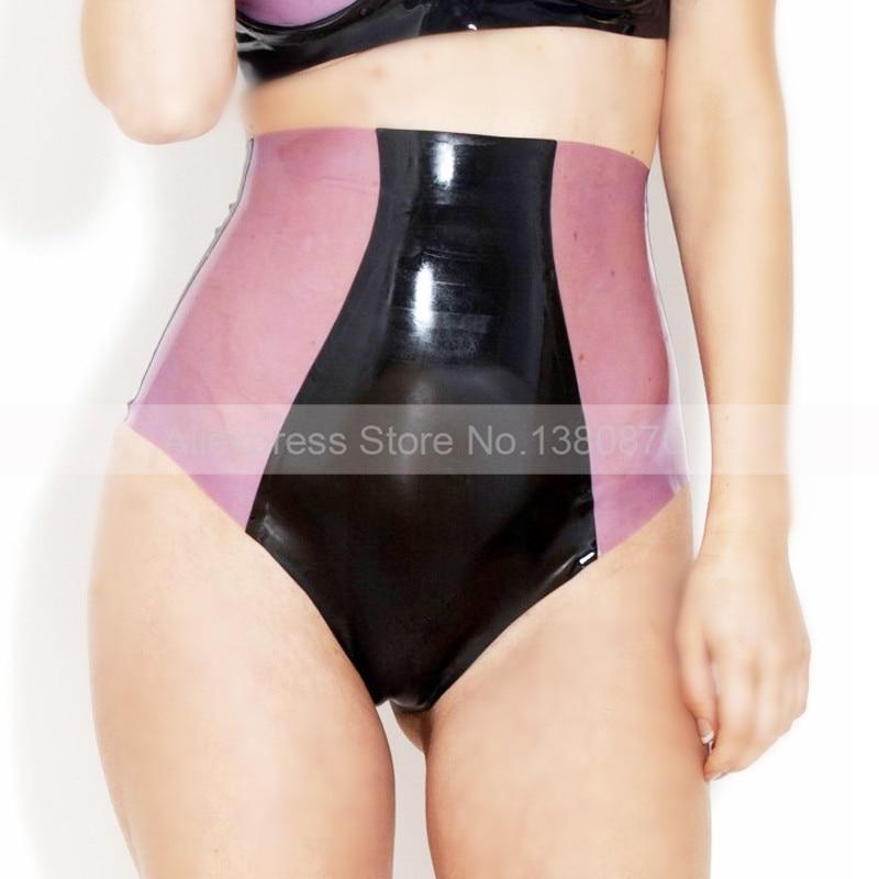 Femme taille haute Sexy en caoutchouc Latex culottes slips culotte serrée femmes épissé sous-vêtements Lingerie S-LPW053