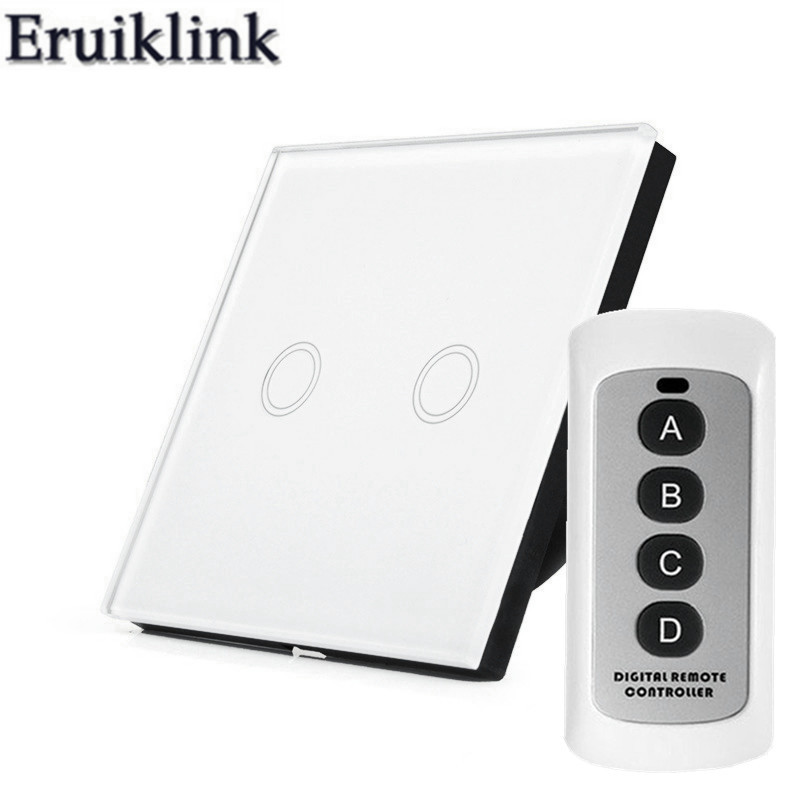 EU/UK Standard Wall Touch Switch,2 gang 1 way Glass Panel Light Wireless Remote Control Switches+LED Indicator RF433 Smart home 2017 smart home touch switch smart home 1 gang 2 way uk touch light switch vl c301s 61 w led indicator crystal glass panel