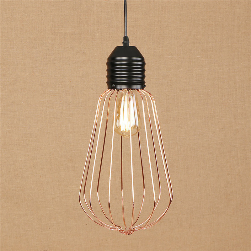 Edison Loft Style Rose Gold Iron Cage Droplight Modern LED Pendant Light Fixtures Metal Hanging Lamp Home Lighting Luminarias