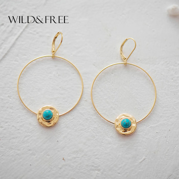 Wild&Free Bohemian Round Natural Stone Dangle Earrings For Women Simple Gold Big Circle Drop Earrings Summer Dress Jewelry Gift