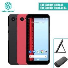 Google Pixel için 3a kılıf kapak NILLKIN buzlu PC mat sert arka kapak hediye telefon tutucu Google Pixel için 3a XL kılıf kapak