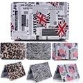 Leopard/zebra-stripe Flag PU Leather cover Case For apple Macbook Air 11 13 Pro 13 15 Retina Hard laptop case For Mac 12 inch