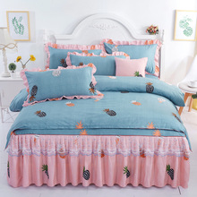 New Sanding Lace Bed Linen 3/4pcs Bedding Set Duvet Cover Bedspread Pillowcase King Size Home Textile