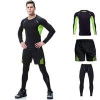 3Pcs/Set Men's Tracksuit Gym Fitness Compression Sports Suit Clothes Running Jogging Sport Wear Exercise Workout