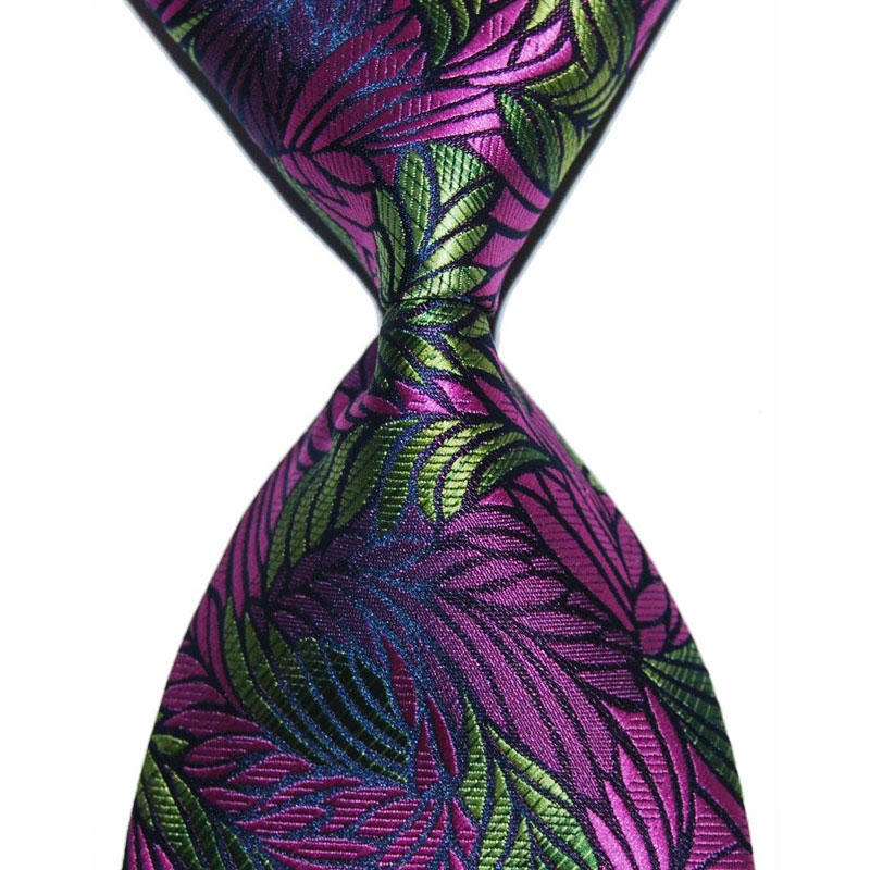 Gift Tie For Men Floral Necktie Purple Silk Yellow Leaf 10cm Width Fashion Jacquard Woven Formal Wear Business Wedding Party New