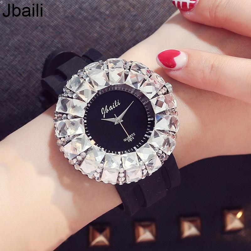 Γυναικεία ρολόγια μόδας Shining BlingBling Crystal Quartz Ρολόγια γυναικών γυναικών σιλικόνης Casual γυναικών ρολόγια χειρός Ρολόγια γυναικών