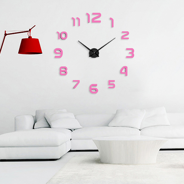muhsein New DIY Wall Clock Fashion 3D Super Big size Mirror wall sticker Clock Home Decoration Living Room Watch Free Shipping