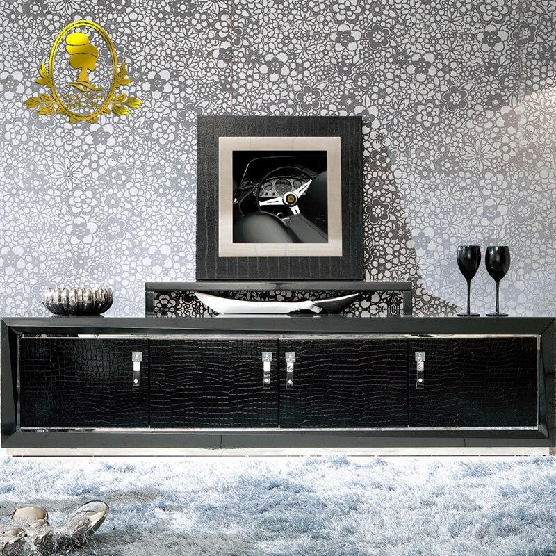 modern grass painting black color living room cabinet floor ...