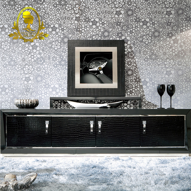 modern grass painting black color living room cabinet floor stand Tv ...
