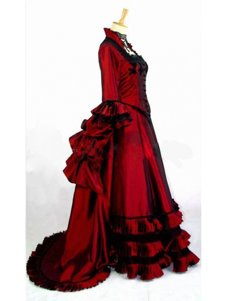 Gothic Wine Red Printing Historical Euro Court Princess Dress  Party Dress Cosplay Dress