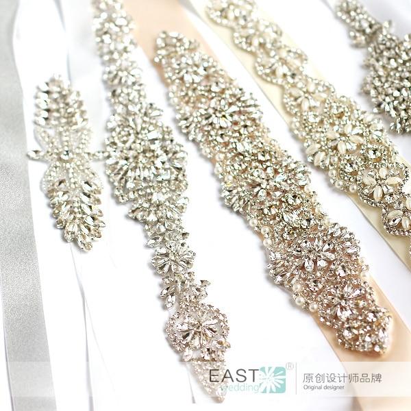 Bridal dresses belt wedding Sash luxury diamond crystal Bride 's Sash White ivory coral wedding belts & sashes Mini style