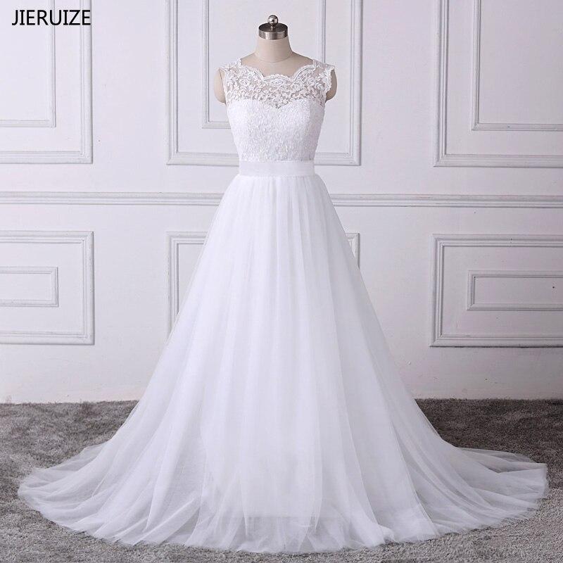 JIERUIZE vestido de noiva White Lace Appliques Boho Wedding Dresses 2019 A line Backless Beach Wedding