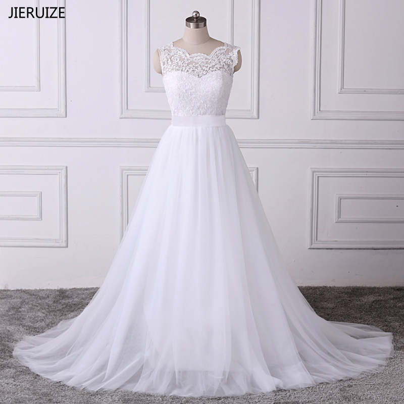 JIERUIZE vestido de noiva Applique Lace Putih Boho Pakaian Perkahwinan 2019 A-line Backless Beach Wedding Dress trouwjurk