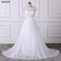 JIERUIZE vestido de noiva White Lace Appliques Boho Wedding Dresses 2019 A-line Backless Beach Wedding Dress trouwjurk