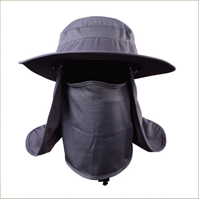 Fsc06 round edges caps camping bucket hat wide brim for Fishing neck cover