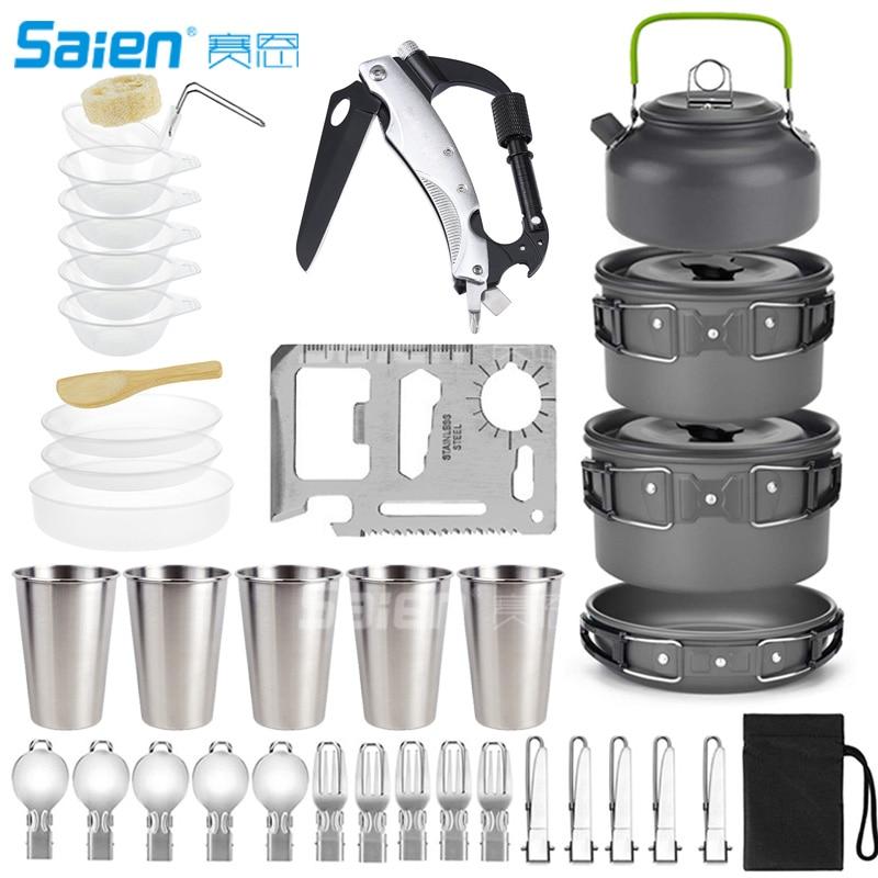 Camping Cookware Set, 43pcs:5-6 Person Mess Kit With Non-Stick Aluminum Pot Pan, BPA-Free Bowls/Plates And Nylon Bag
