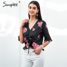 Simplee Vintage v neck floral print blouse shirt women Half sleeve ruffle drawstring black blouse Summer sexy blouse tops